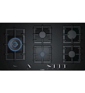 Plita pe gaz incorporabila Bosch PPS9A6B90, 90 cm, 5 arzatoare, aprindere electrica, gratare din fonta, culoare negru